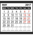 calendar sheet May 2017 vector image vector image