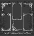 calligraphic corners and frames on chalkboard vector image vector image