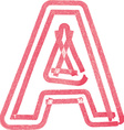 Capital letter A drawing with Red Marker vector image vector image