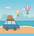 car in beach scene vector image vector image