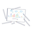childs drawing hand drawn childs drawing vector image