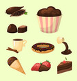 chocolate various tasty sweets and candies sweet vector image vector image