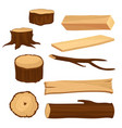 flat set of materials for wood industry vector image