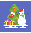flat style with snowman presents and Christmas vector image