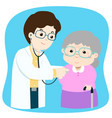 grandmother checkup with doctor cartoon vector image