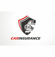 graphic icon or logo for car insurance vector image vector image