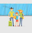 happy family travelling together with luggage on vector image