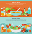 healthy eating flat banner set vector image vector image
