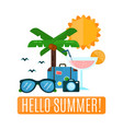 hello summer concept card flat vector image