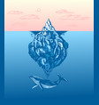 iceberg and whale in ocean a large piece of vector image vector image