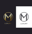 logo m monogram gold letter seal mockup elegant vector image vector image
