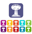 mushroom cloud icons set flat vector image vector image