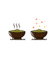 noodles icon in mbe style vector image vector image
