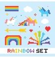 Pixel art rainbow set vector image vector image