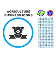 pork award ribbon rounded icon with set vector image
