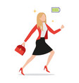 powerful businesswoman with full charged green vector image vector image