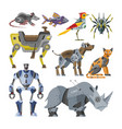 robots cartoon robotic kids toy animal vector image