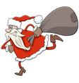 running santa claus christmas character with sack vector image vector image