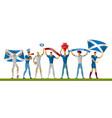 scotland football fans cheerful soccer vector image