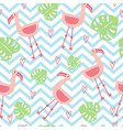 seamless babackground with pink flamingos vector image vector image