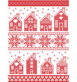 Seamless Xmas pattern with gingerbread house vector image