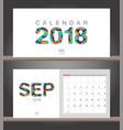 september 2018 calendar desk calendar modern vector image vector image