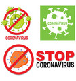 set different stop coronavirus sign or logo vector image vector image