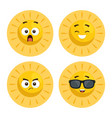set of summer sun faces cartoon vector image vector image