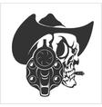 Skull In Cowboy Hat And Gun vector image vector image