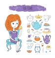 Tea time with image of girl vector image vector image