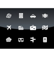 Travel icons on black background vector image vector image