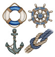 watercolor blue nautical icons buoy anchor helm vector image vector image
