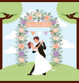 wedding couple dancing in park arch flowers save vector image