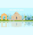 welcome to india card with famous landmarks vector image vector image