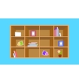 Wooden bookshelf with things vector image