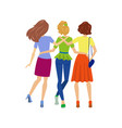 young girls hugging back view isolated vector image vector image