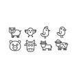 domestic animals cow pig bull sheep and bird vector image