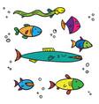 exotic sea and river multi colored fish different vector image