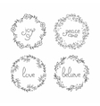 Floral wreath set Line lettering Greeting vector image