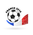 Football ball with France flag scribble effect vector image