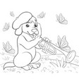 a children coloring bookpage a cute playing dog vector image vector image