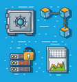 blockchain cubes digital security technology vector image