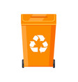 bright plastic rubbish bin with recycling sign vector image