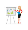 businesswoman making flip chart presentation vector image
