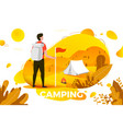 camping man with backpack looking on tent vector image