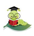 cartoon caterpillar worm wearing graduation mortar vector image vector image