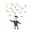 Cartoon man chasing money vector image