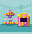 circus tent sale ticket with carousel of unicorns vector image vector image