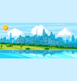 city landscape with buildings river hills trees vector image
