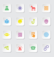 colorful flat icon set 7 on white rounded rectangl vector image vector image